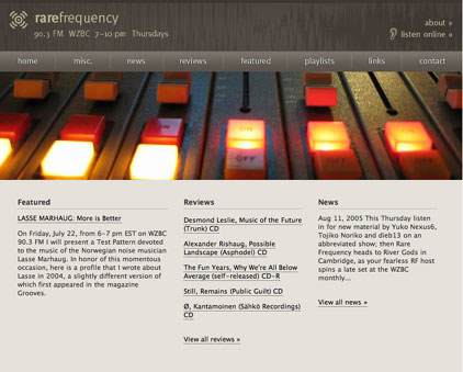 The original Rare Frequency homepage